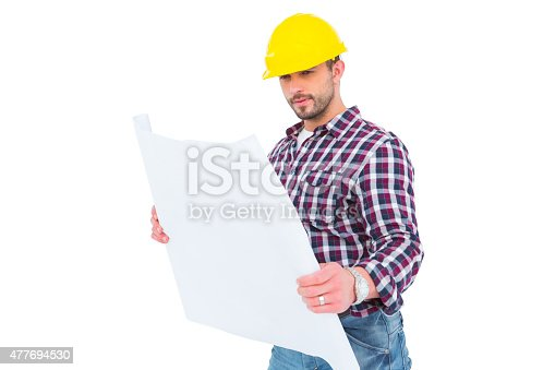 istock Architect holding blueprint 477694530