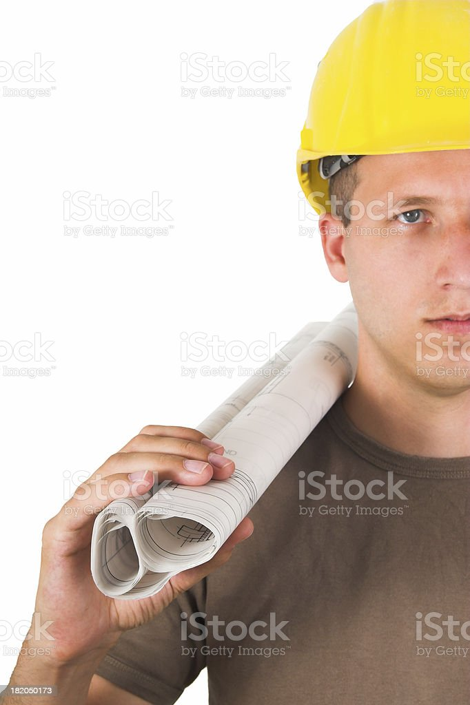 Architect holding plans royalty-free stock photo