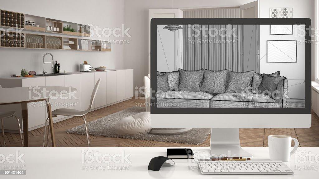 Modern Living Room Desk architect house project concept desktop computer on white work desk