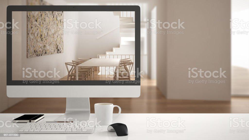Concept de projet architecte maison ordinateur de bureau le bureau
