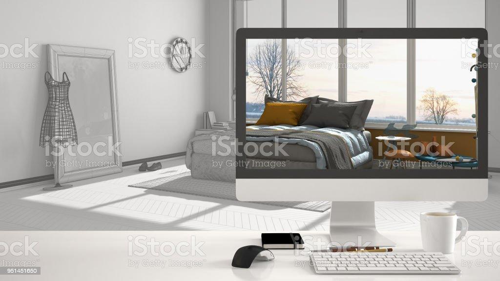 Architekt Haus Projektkonzept Desktopcomputer Auf Weiß Work ...