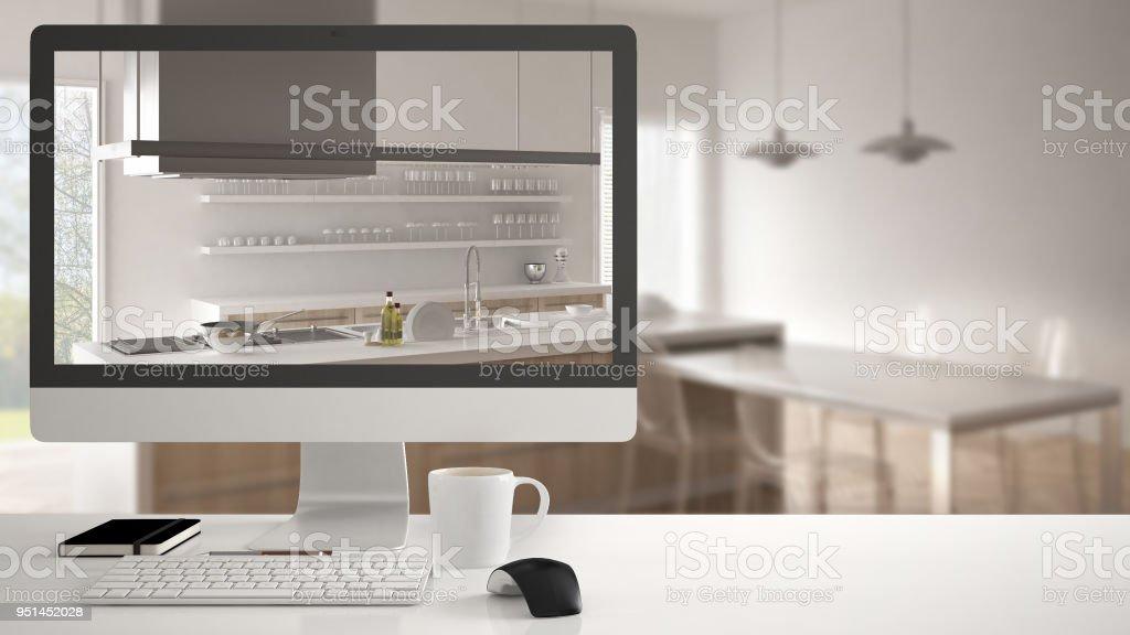 Concept de projet de maison architecte ordinateur de bureau sur