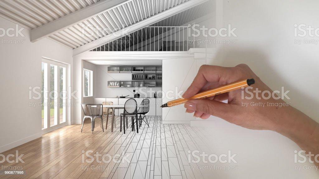 Architekt Designer Innenraumkonzept Handzeichnung Eine ...