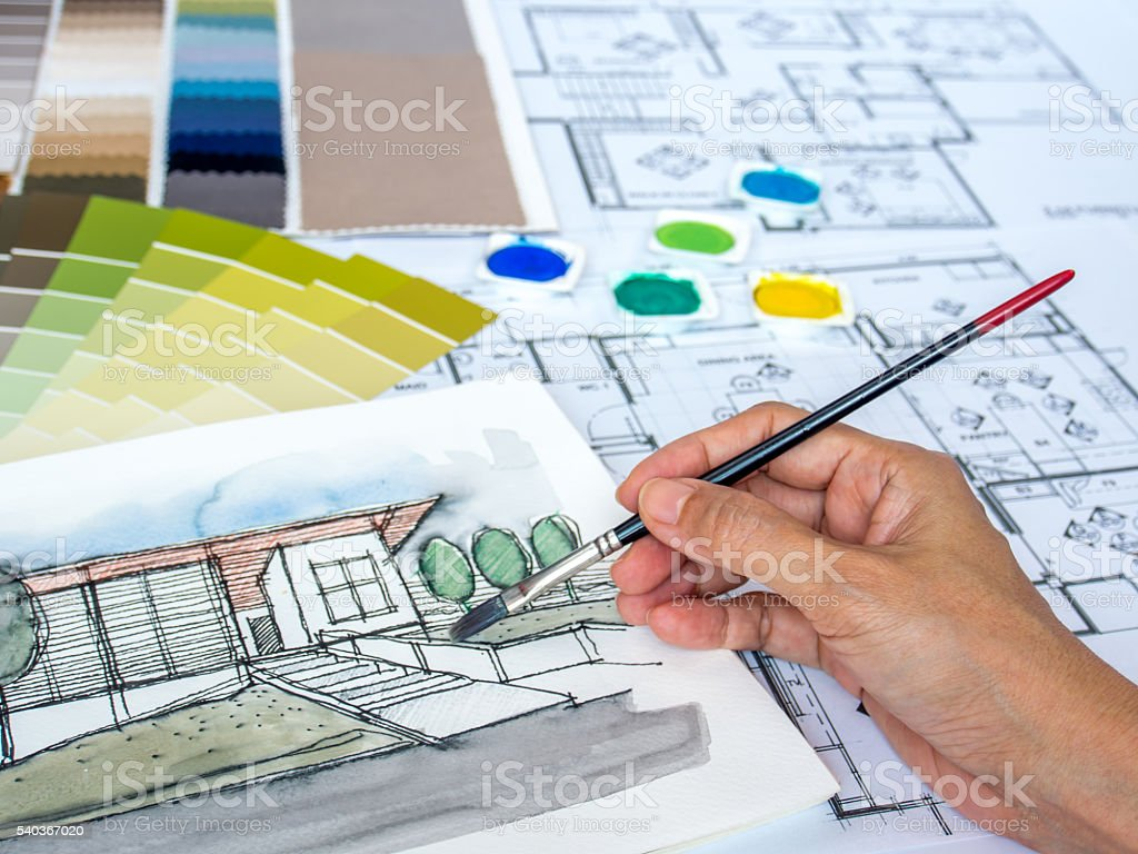 Blueprint Interior Design Painting architect interior designer painting at worktable with home sketch