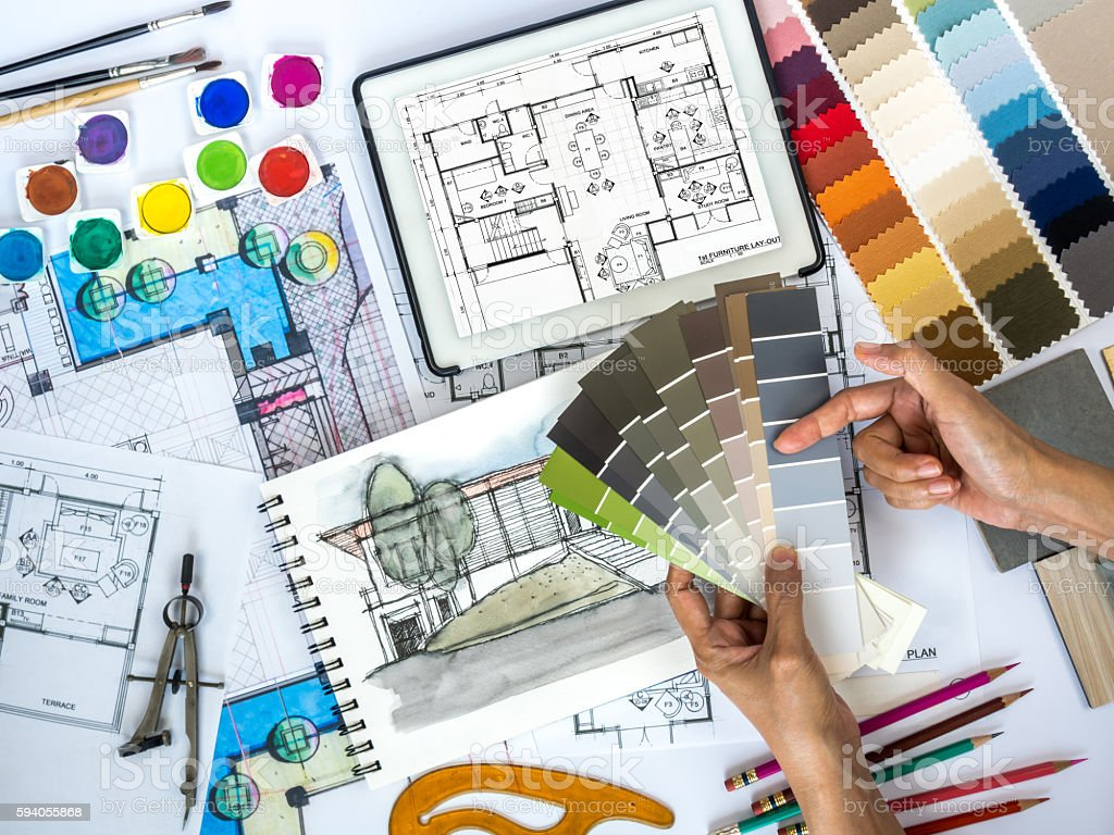 Architect, Interior Designer Working At Worktable With Color Swatch, Sketch  Stock Photo