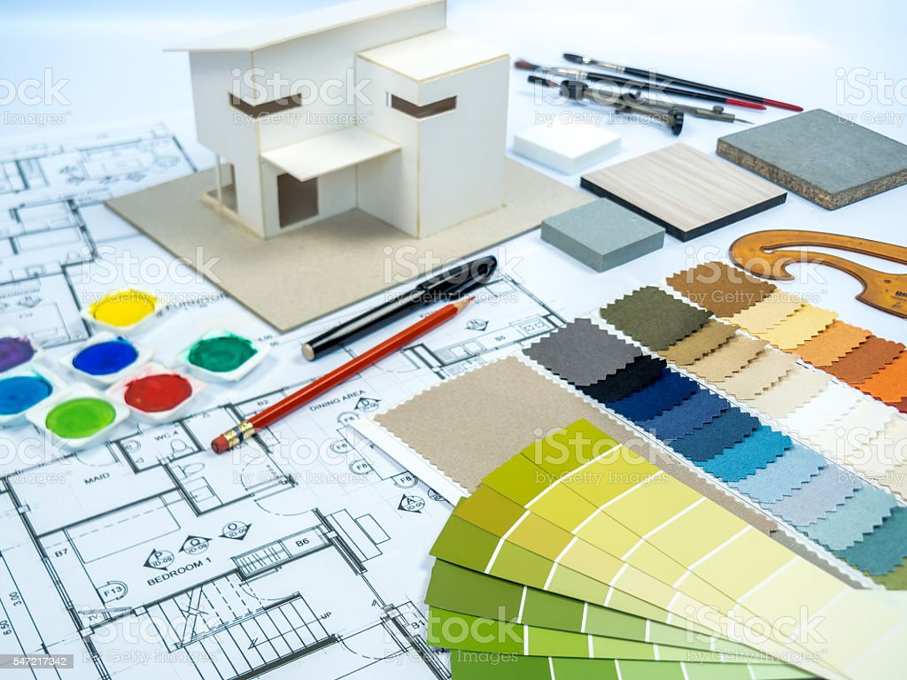 Architect interior designer worktable with color swatch home model royalty-free stock photo