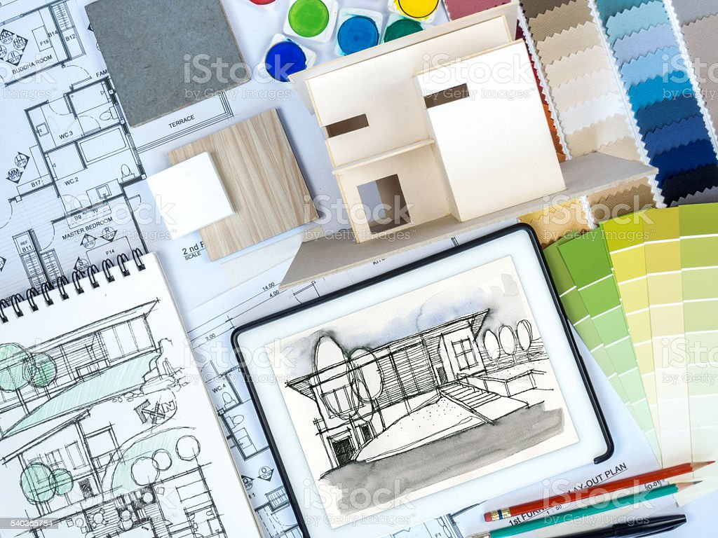 Architect Interior Designer Worktable With Home Model Drawing Sketch ...