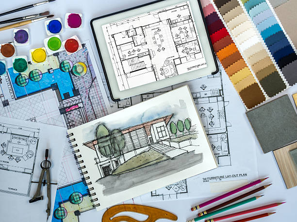 Royalty free architect interior designer working at worktable with tablet sketch pictures for Best tablet for interior designers