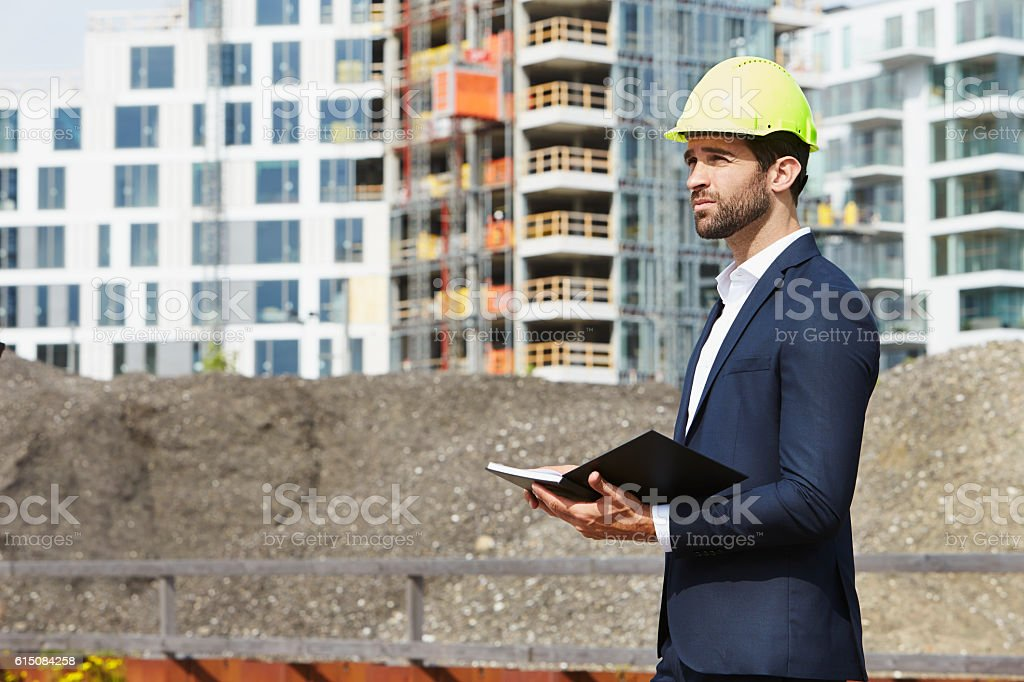 Architect makes plan stock photo