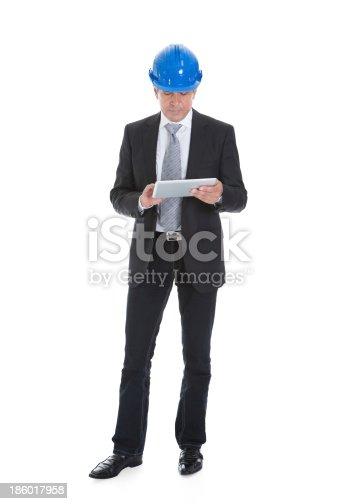 istock Architect Man Using Digital Table 186017958