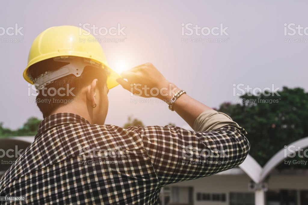 Architect man working site building Construction engineering...