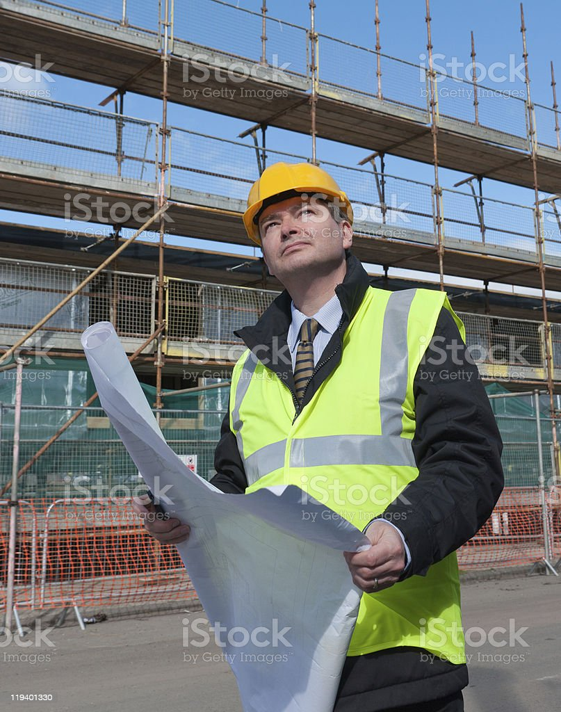 Architect on building site royalty-free stock photo