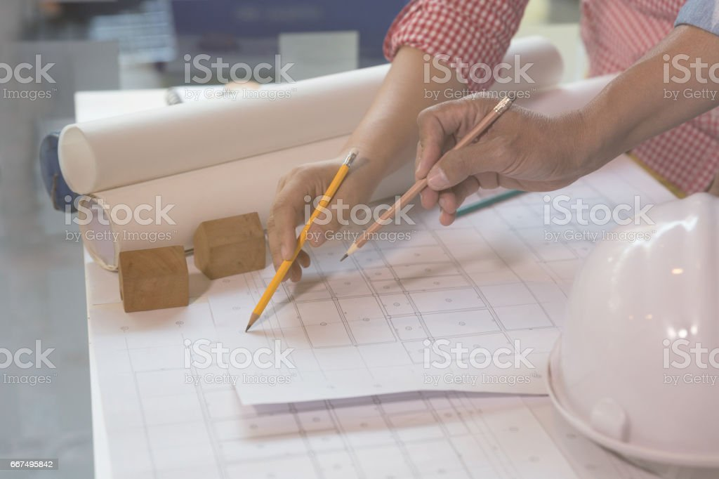 Architect or engineer meeting, working with blueprints in office, Construction concept. foto stock royalty-free