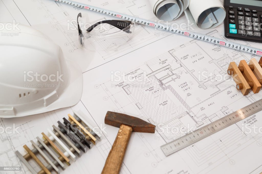 Architect or engineer workplace with drawings and tools stock photo