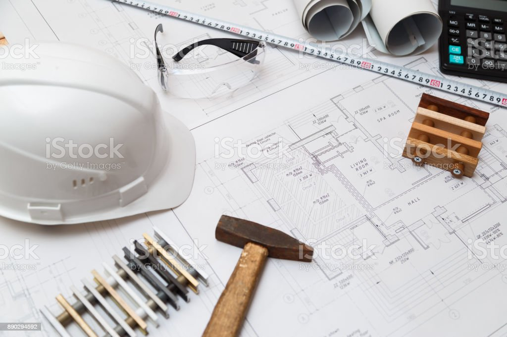 Architect or engineer workplace with drawings and tools, top view stock photo