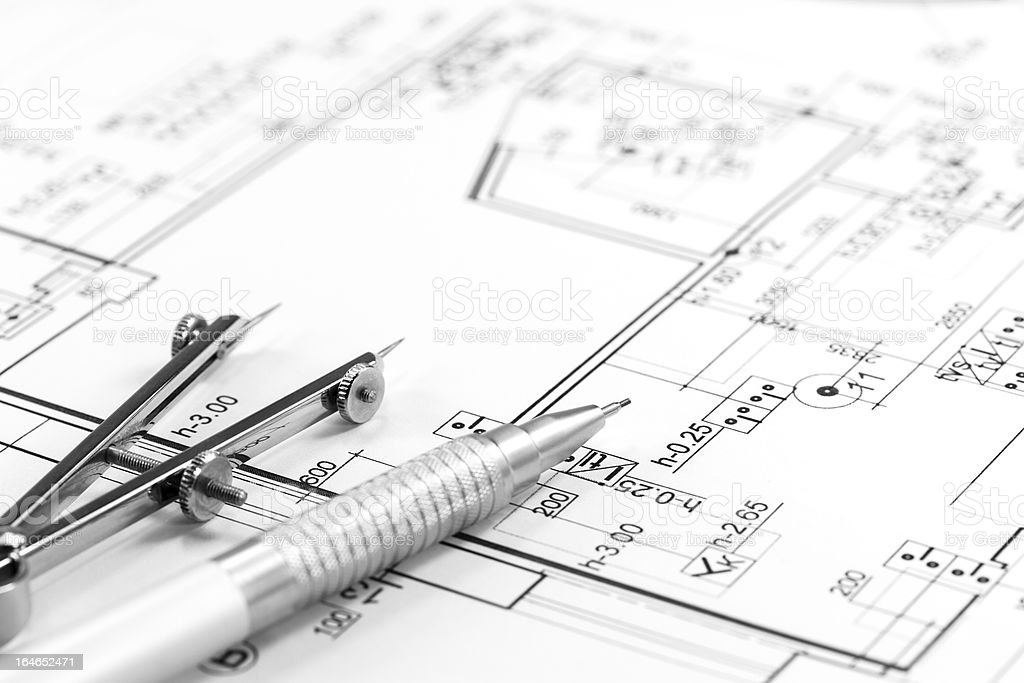 Architect plan and tools stock photo