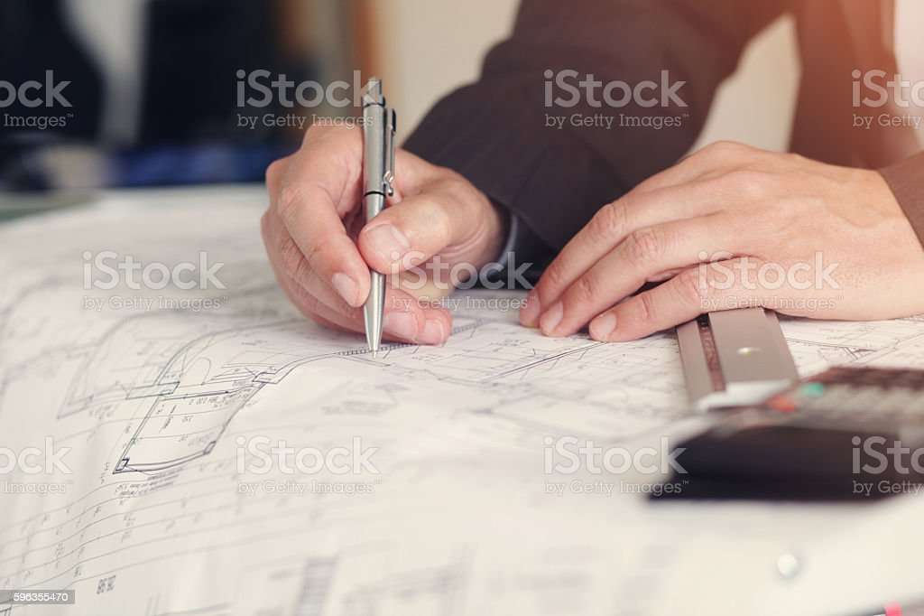 architect planing paper royalty-free stock photo