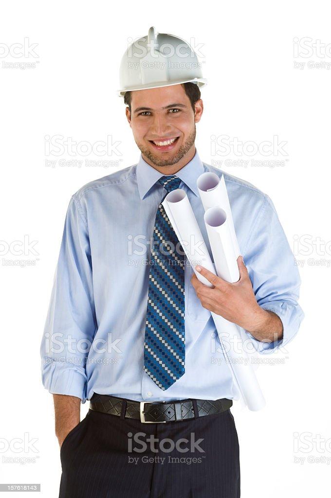 Architect posing and holding blueprints royalty-free stock photo