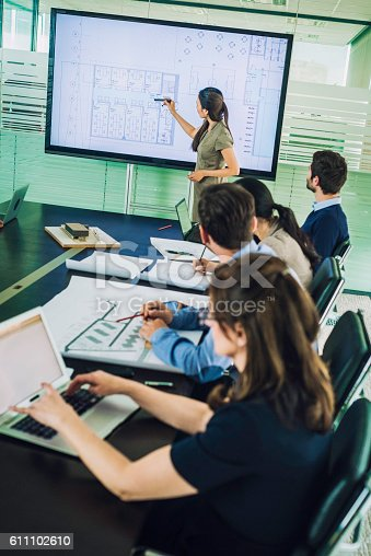 615617034 istock photo Architect presenting project plan to colleagues 611102610