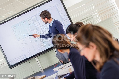 615617034 istock photo Architect presenting project plan to colleagues 614719084