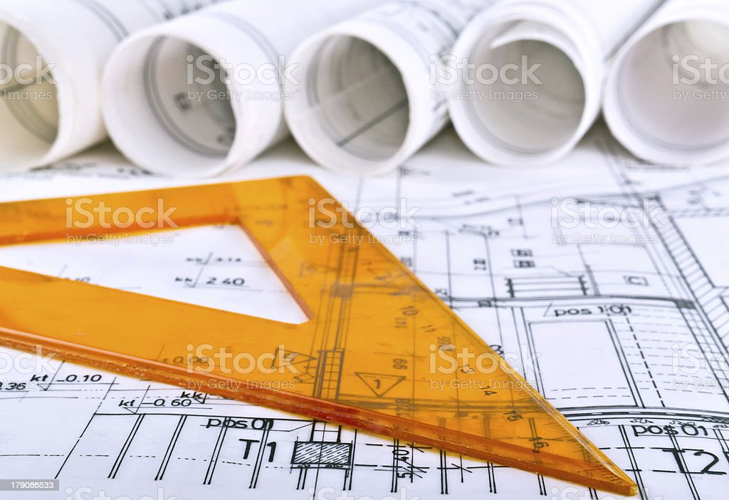 architect project blueprints stock photo