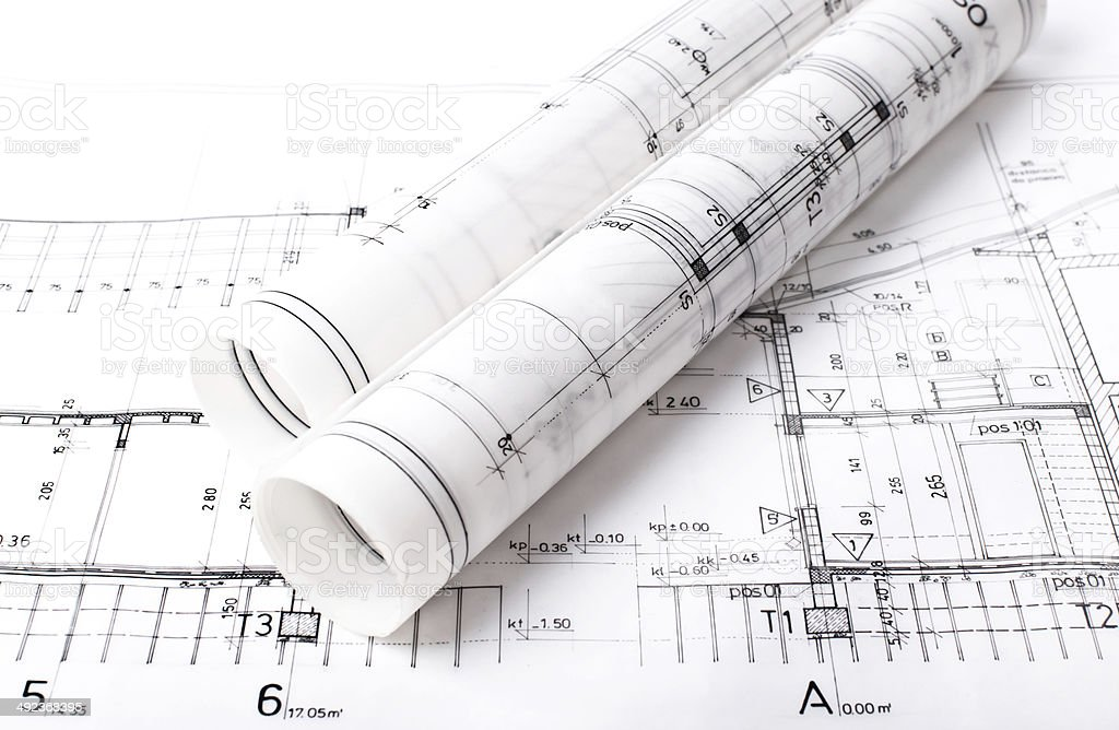 Architect project drawing blueprint stock photo