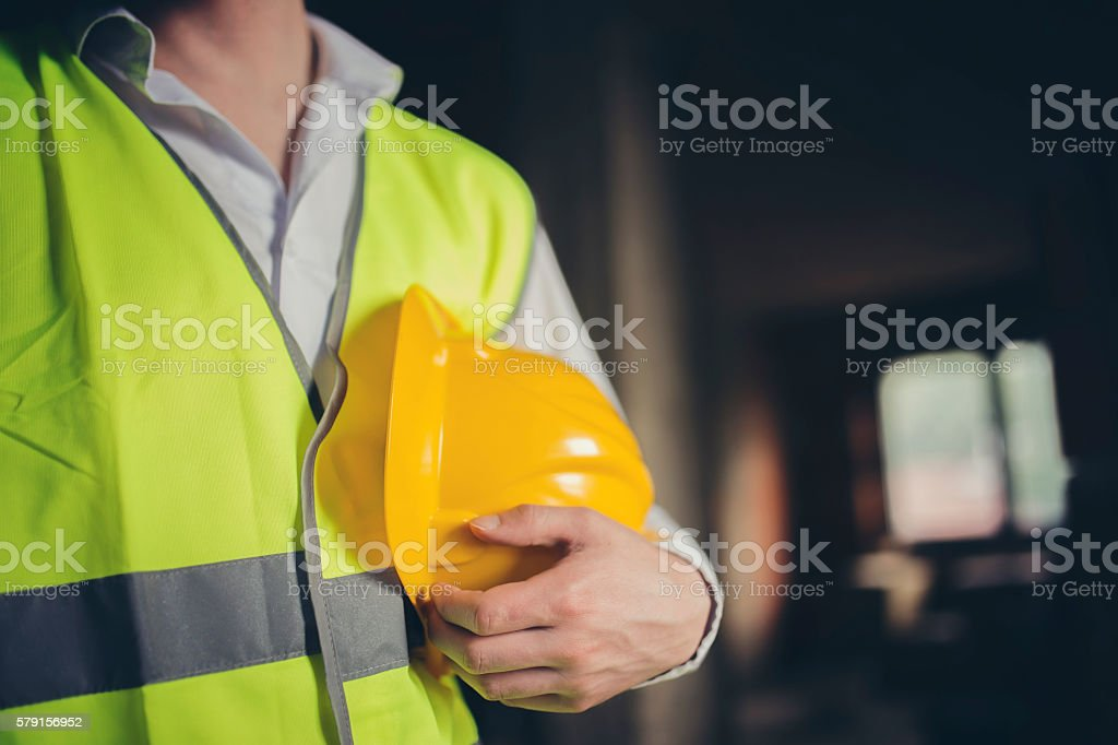 Architect reviewing house stock photo