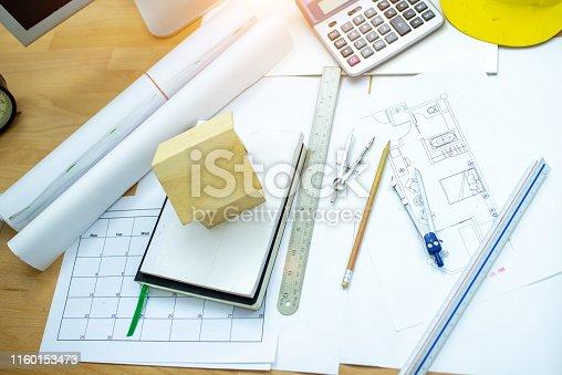 832105172 istock photo Architect sketch 1160153473
