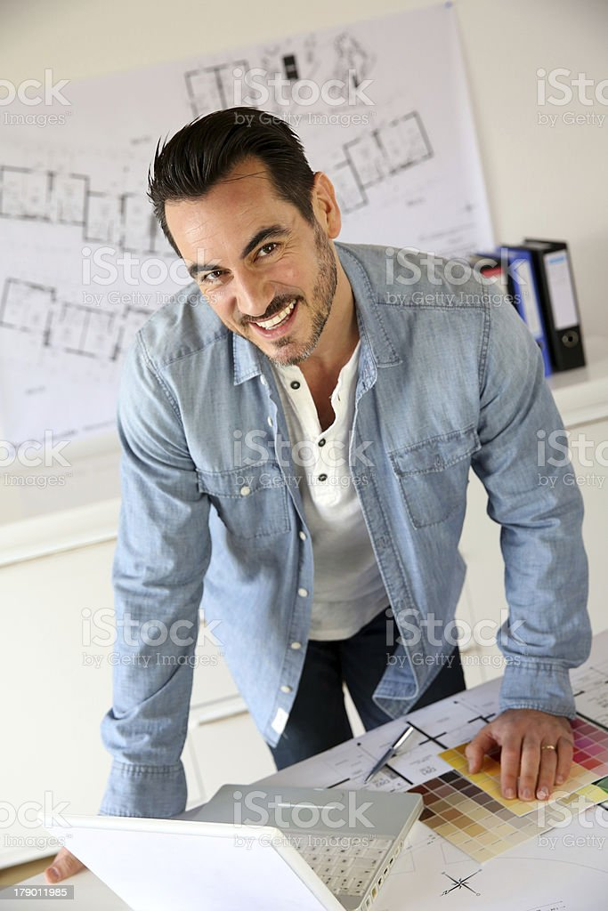 Architect standing in office royalty-free stock photo