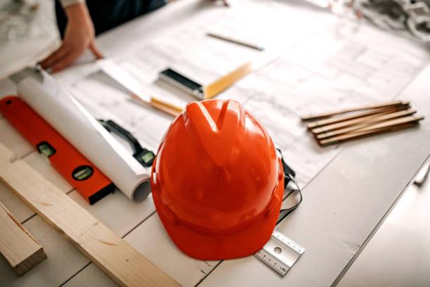 Architect table arangment stock photo