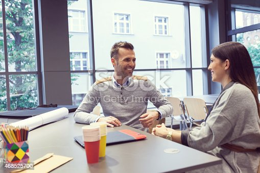 istock Architect talking with his client in an office 468525700