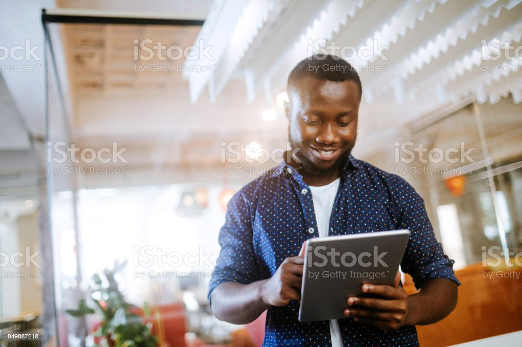 Architect using a digital tablet stock photo