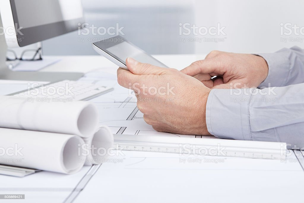 Architect Using Digital Tablet royalty-free stock photo