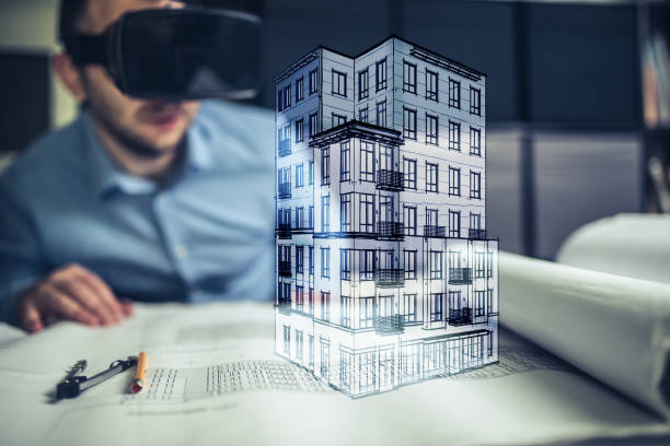 Architect using virtual reality stock photo