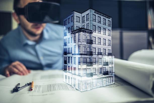 architekt mit virtueller realität - warchi stock-fotos und bilder