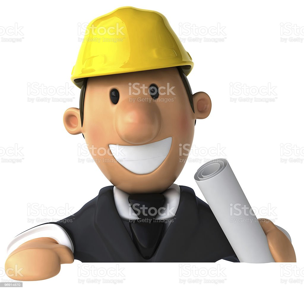 Architect with a blank sign royalty-free stock photo