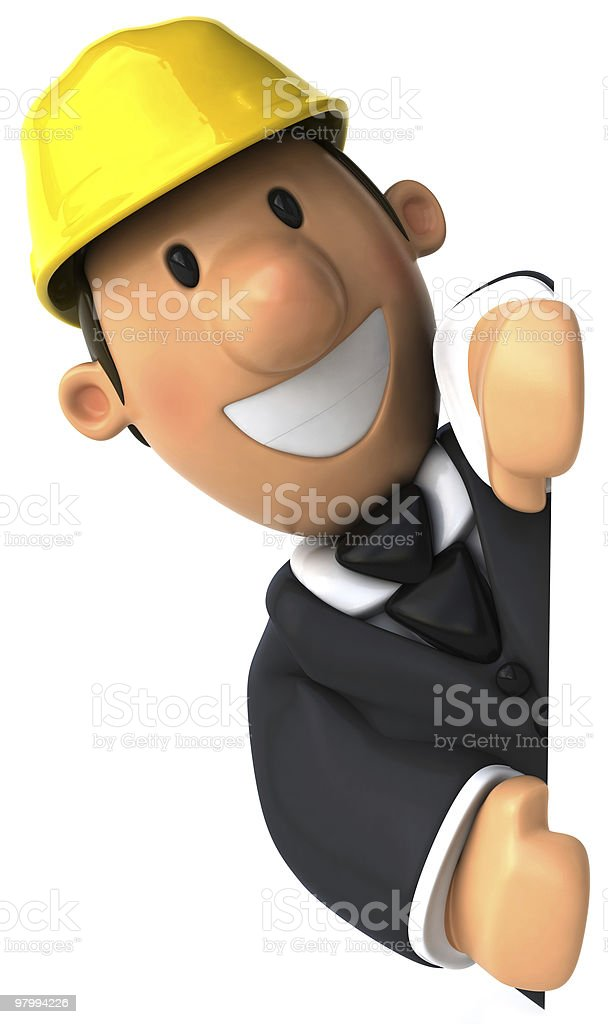 Architect with a blank sign royalty free stockfoto