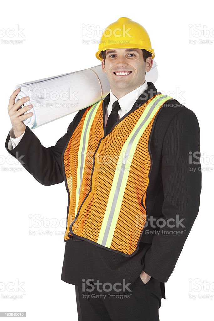 Architect with a bundle of blueprints royalty-free stock photo