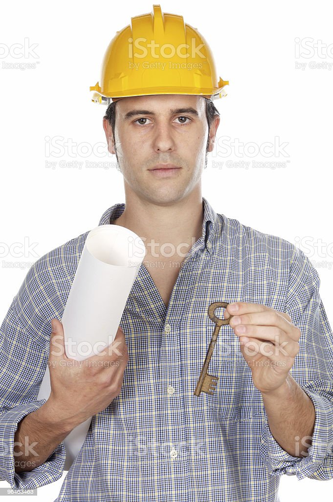 architect with a key royalty-free stock photo