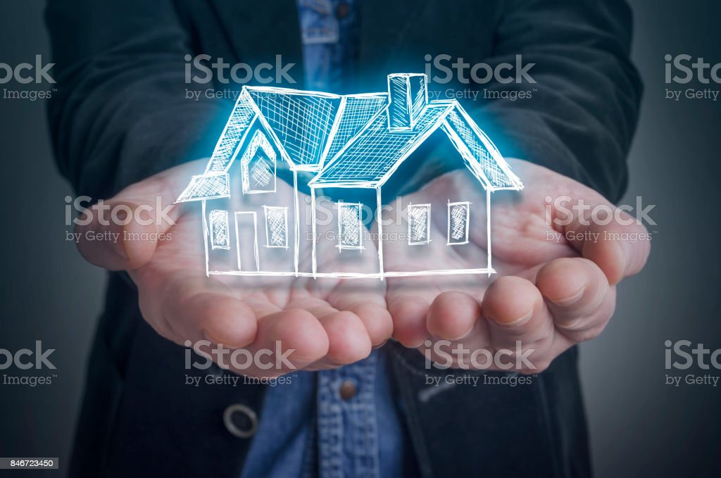 Architect with a virtual model of a house stock photo