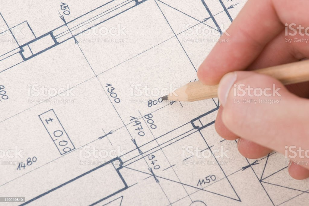 Architect with blueprint royalty-free stock photo