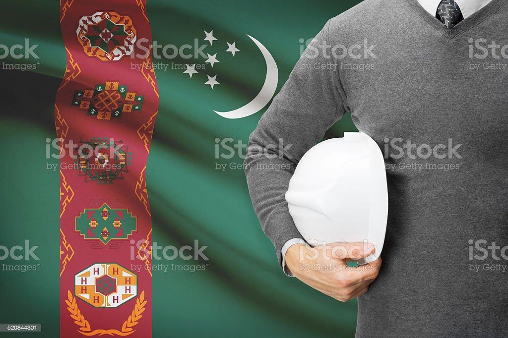 Architect with flag on background  - Turkmenistan stock photo