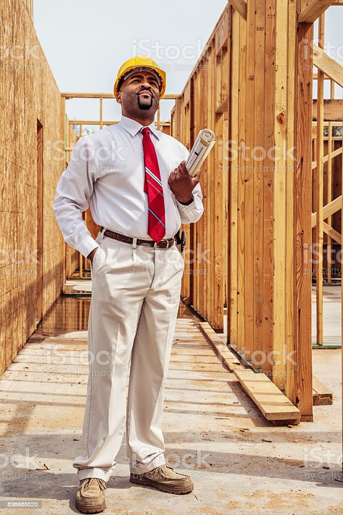 Architect with Plans stock photo