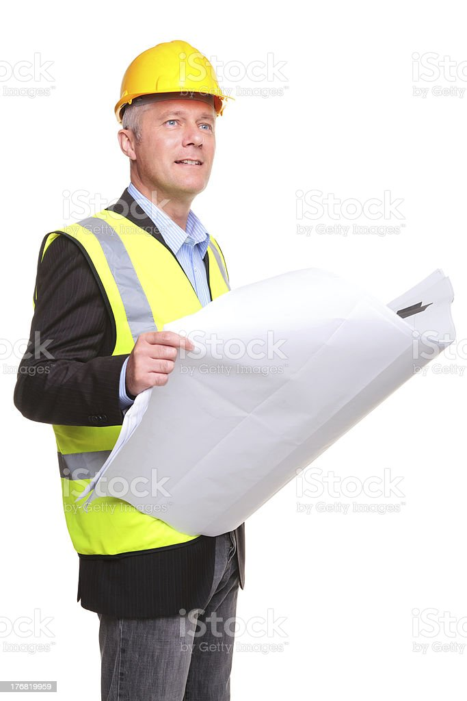 Architect with site drawings cut out royalty-free stock photo