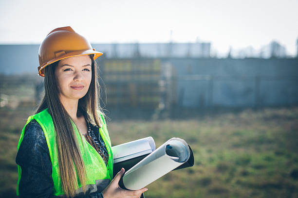 architect with the project - civil engineer stock photos and pictures