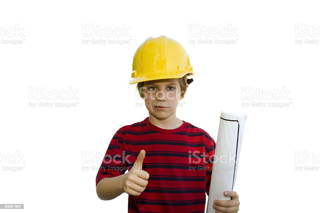 Architect with thumbs up hardhat and blueprints royalty-free stock photo