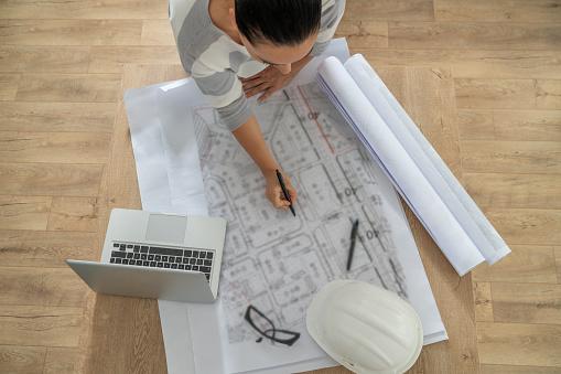 Architect woman working