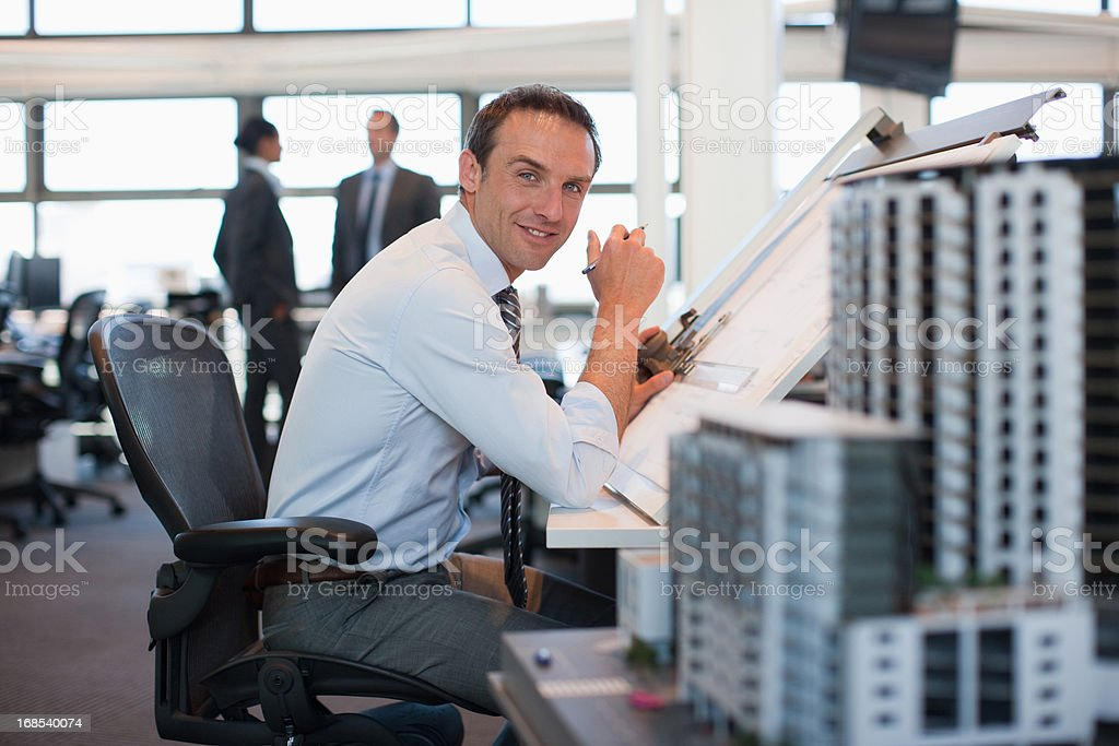Architect working at desk in office  royalty-free stock photo