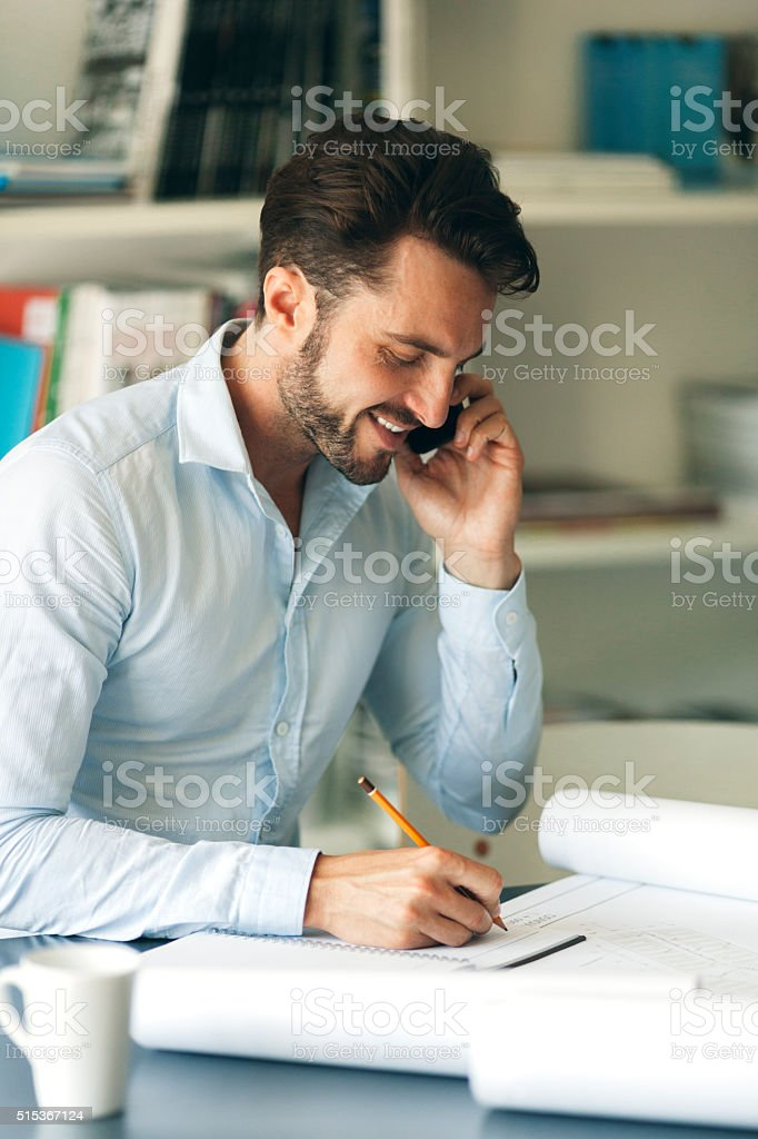 Architect Working At His Office. stock photo