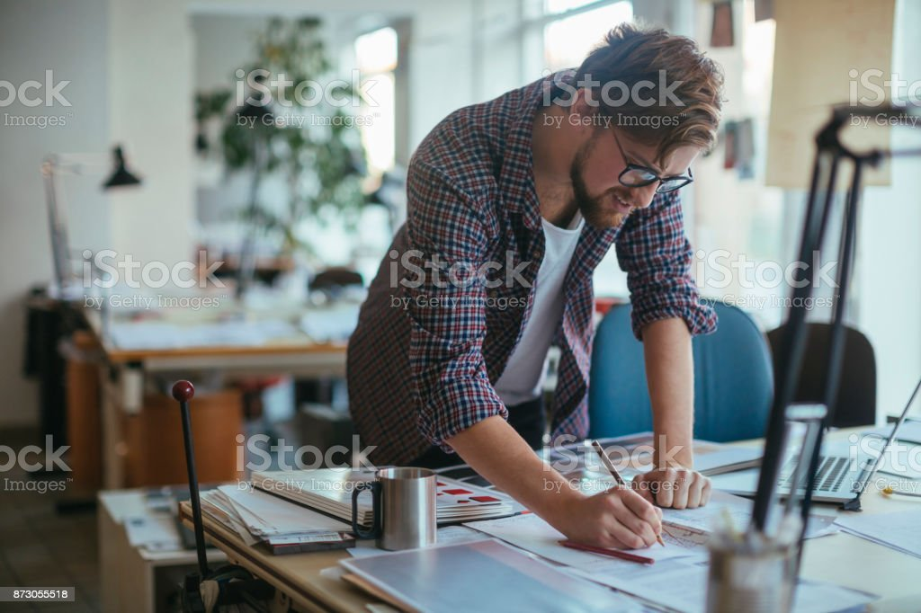 Architect working on a project stock photo